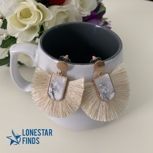 Jewelry - Ivory Tan Fringe Tassel Dangle Statement Earrings